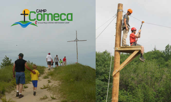 Kids walk to the cross and ride a zip line at Camp Comeca